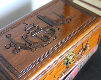 Gorgeous carved wood ASIAN DARK Wood Jewelry Chest, Red Jewelry Box with drawer