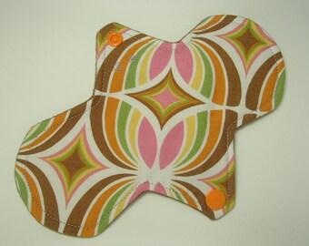 "7.5"" moderate bamboo reusable cloth pad, geo butterfly print, bamboo fleece ultra thin core, ultra thin maxi pad 2.25"" narrow width**"