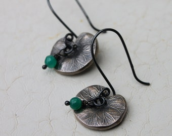 SALE ~ Aventurine & Oxidized Sterling Lily Pad Earrings. Earrings Only