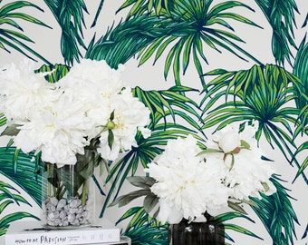 Tropic Palm Leaf Wallpaper /Removable /Regular Palm Wallpaper /Leaf Wall Mural /Green Leaves Pattern Wall Covering / Self Adhesive