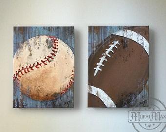 Baseball and Football Sports Wall Art ,  Baseball Nursery Decor,  Baby Boys Room  Sports Canvas Art Print  Baseball Art, Football Art