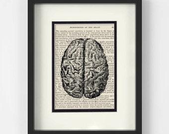 Brain over Vintage Medical Book Page - Gift for Psychologist, Psychology, Human Brain, Anatomical Brain, Brain Print, TBI, Stroke