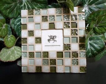 "Green White Glass Travertine Stone Mosaic Tile Trivet with Pegasus Horse 6"" x 6"""