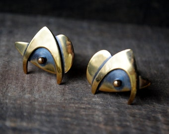 Modernist vintage 50s bronze, abstract, geometric cufflinks. Made by Hogan Bolas.