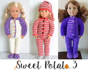 "18"" Doll PJ Set - Crochet PATTERN"
