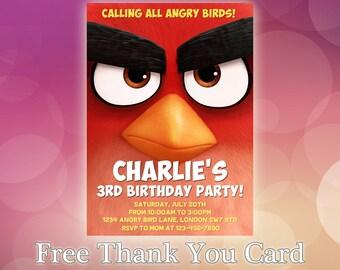 Angry Birds Invitations / Angry Birds Birthday Invitation / Angry Birds Party / Angry Birds Invitation Card / Angry Birds Invitation / AB01