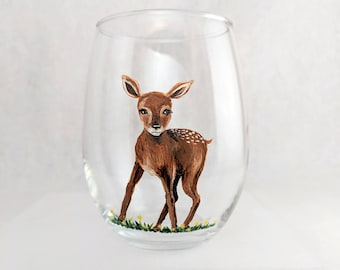 Deer Stemless Wine Glass Fawn Woodland Creatures Glass Forest Animals Personalized Custom Wine Glass Gift for Mom Mothers Day Gift for Her