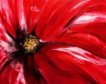 Free poppy - table ready to hang - flower - acrylic painting on canvas coated high Polish - format