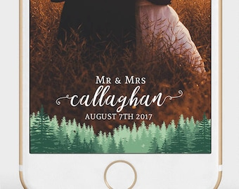 Forest Wedding Snapchat Filter | Custom Wedding Geofilter | Pine Trees Wedding Snapchat Filter | Woods Wedding Geofilter |