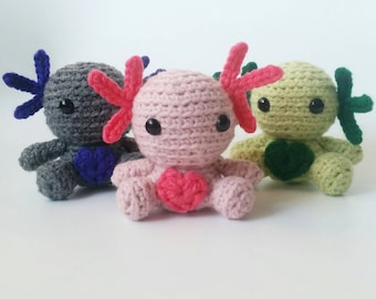 Crochet Axolotl, Stuffed Animal Axolotl, Mini Plush Axolotl, Kid's Birthday Gift, Ocean Nursery Toy, Gifts under 30,Mini Amigurumi Axolotl