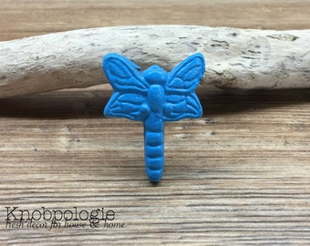 Blue Turquoise Dragonfly Knob - Cabinet Knob Lighting Bug Dragon Fly Drawer Pull - Cast Iron Knob - Nature Nursery Decor