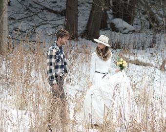 Claire winter wedding dress, organic cotton, low cowl back, faux fur cowl, fall wedding, boho wedding, country bride