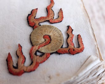 Antique art deco 1920 fire symbol hand embroidered silk dress application, patch badge, chinese embroidery, costume design, jewellery flower