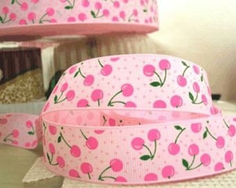 7/8'' CRAFT scrapbooking Hair Bows supplies printed grosgrain accessories Ribbon NEW 5 yards pink cherry pairs cherries on pink rockabilly