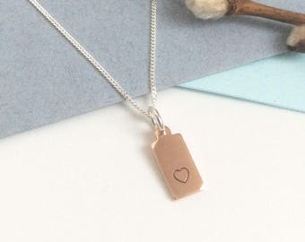 Heart tag necklace-copper charm pendant-silver chain