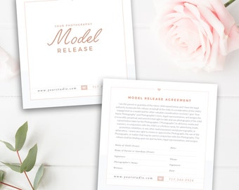 Photography Model Print Release Template (Minors), Photography Form Template, Photoshop Template, INSTANT DOWNLOAD