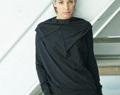 Black Asymmetrical Top / Arya Oversized Top / Loose Black Blouse / Gift For Her / Casually Cottoned Yoga Top / Blouse by AryaSense /TPRD12BL