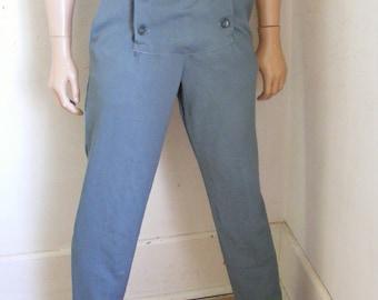 Steampunk Men's Pants button up 4 pockets VTg Gold white Herman's Trousers Britches hfocb