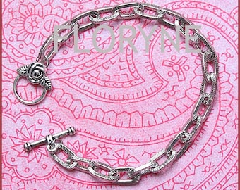 Engraved bracelet, ornate silver Metal with Toggle