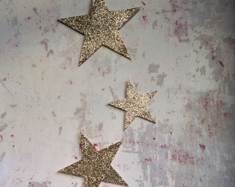 Star decorations   Stars   hanging stars   Glitter stars   gold star   laser cut   Wall hanging   Decoration   circus party   Set of three