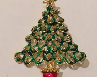 Enamel Christmas Tree Green and Red Brooch / Pin