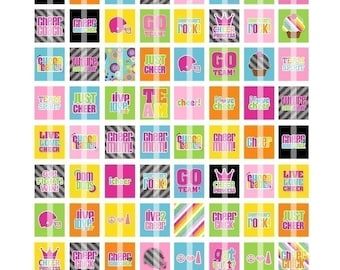 LIVE LOVE CHEER DIGITAL COLLAGE SHEET (NO. 292) - SCRABBLE SIZE TILES 0.75 INCH X 0.83 INCH