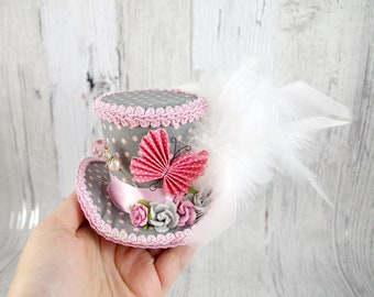 Pink and Gray Polka Dot Paper Butterfly Small Mini Top Hat Fascinator, Alice in Wonderland, Mad Hatter Tea Party, Derby Hat