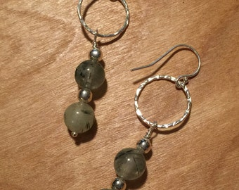 Genuine Prehnite Sterling Silver Dangle Earrings
