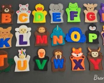 Alphabet Finger Puppet Playset including storage bag