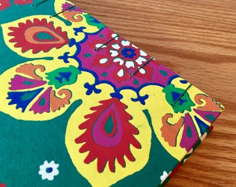 Colorful Floral Print Journal, Handbound Blank Book, Sketchbook w/ Exposed Coptic Stitch Spine (5.75 in x 9 in)