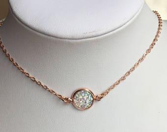 Druzy choker, Druzy necklace, Rose gold choker, Rose gold necklace, Boho jewelry, Layering Choker necklace, Petite, Rosegold, Bridesmaid