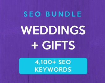 4,100+ SEO Keywords for Weddings & Gifts: Etsy SEO Keywords. SEO help for Etsy sellers, Etsy tag and title help. Be a Etsy best seller.