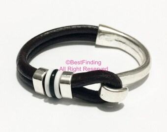 Half cuff bracelet clasp Hook clasps for 5mm Round leather cord -3sets