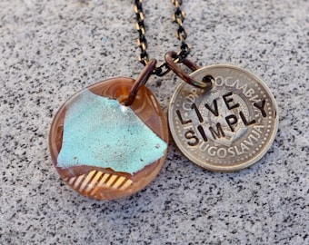 Dichroic Glass Pendant Boro Lampwork Stamped Coin Necklace - Live Simply