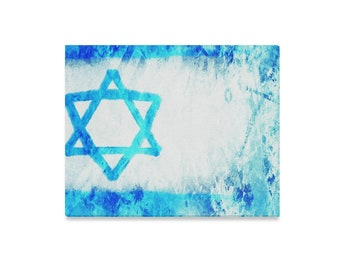 Israel flag- giclee print on streched canvas- express mail