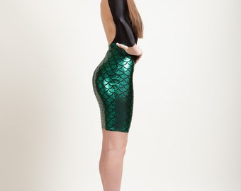 Mermaid Bodycon Pencil Skirt in 8 Metallic Holographic Sparkly Colors