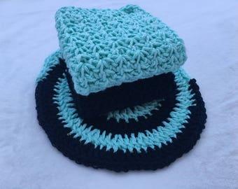 Pure Cotton Crochet Dishcloth Washcloth Washer Set of Three