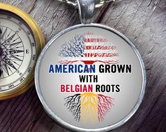 American Grown with Belgian roots, Necklace- Belgian gift-Belgium Jewelry, -Belgium Present-Belgium Descendant-Belgian roots