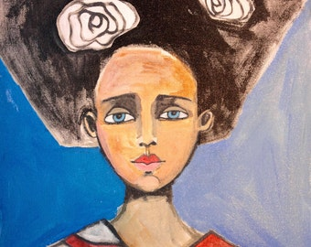 Girl 16 x 20 x 1.5 original portrait painting, acrylic painting