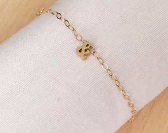 Ampersand bracelet, gold filled bracelet, gold ampersand, pendant bracelet, & bracelet, and bracelet, simple bracelet, gold bracelet, more