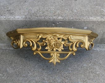 dart demilune gold floral wall shelf 1970 wood top shabby cottage french apartment feminine