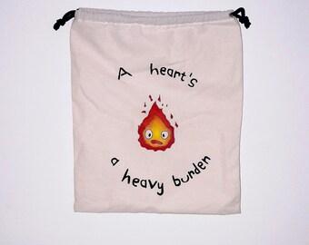 Sac pochon Calcifer / pouch bag Calcifer / Karushifâ / studio ghibli / Howl's moving castle