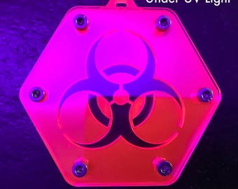 Hexagonal Biohazard Cybergoth Pendant in UV Reactive Red