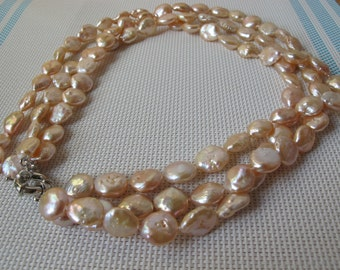 "16"" 13-14mm Natural Peach Coin Cultured Freshwater Pearl Necklace 38"