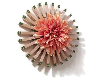Wood Wreath, Clothespin Wreath With Large Peach Dahlia Center, Wall Decor, Home Decor, Laundry Room Decor, Clothes Pins, Decor