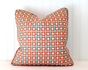 One or Both Sides - ONE High End Thibaut Delilah Coral/Aqua Pillow Cover with Self Cording