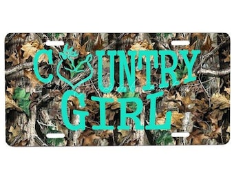 Country Girl license plate, key chan, car accesories, truck accesories, car tag, front plate, matching key chain, country, truk, custom