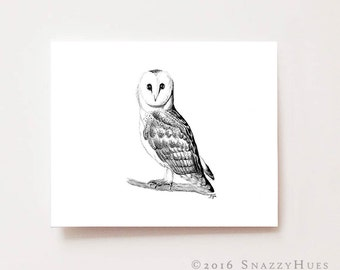 "Woodland animals, ""Owl"", Giclee print, charcoal drawing, black and white, nursery wall art, nursery decor, baby shower gifts, animal prints"