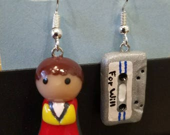 Stranger Things Will Byers & Cassette Tape Polymer Clay Charm Earrings READY TO SHIP