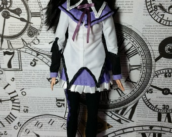Homura Akemi puella magi outfit fitted for modern barbie. Madoka Magica custom doll clothes (free shipping to US)